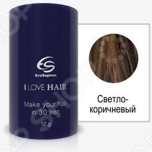 Реконструктор волос EcoSapiens I LOVE HAIR это реконструктор для мгновенного придания объема волосам. Всего за 30 секунд маскирует залысины и делает редкие волосы густыми и пышными. Уникальный кератиновый комплекс для маскировки залысин и редких волос. Микроскопические волокна утолщают волосы в несколько раз и решают косметическую проблему облысения, широких проборов или редких волос. Мгновенный результат после применения. Всего за 30 секунд волосы приобретают желаемую густоту и объем. 100 натуральный продукт, изготовленный из органического белка кератина, идентичного по составу структуре натуральных волос. EcoSapiens I LOVE HAIR не оставляет следов на одежде, не течет , не осыпается, не забивает поры кожи головы и полностью безвреден для здоровья!