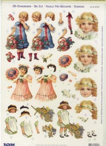 фото Аппликация бумажная вырубная Reddy Creative Cards «Дети с цветами», купить, цена