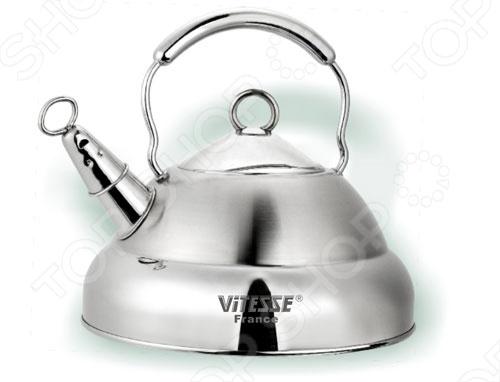 Вскипятить воду на чугунных, стеклокерамических, галогеновых, газовых и индукционных конфорках может чайник со съемным свистком Vitesse Geraldine. Обладает оригинальным дизайном, фиксирующейся ручкой и многослойным тepмoaккyмyлиpyющим дном.