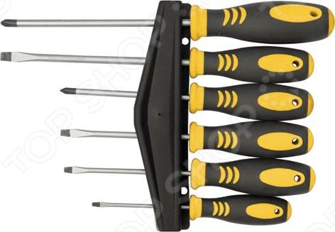Набор отверток FIT 56027 состоит из шести отверток, стержни которых изготовлены из хром-ванадиевой стали. Этот материал гарантирует высокую прочность и долговечность. Отвертки имеют эргономичные ручки для удобного хвата. Применяются для закручивания и выкручивания саморезов и болтов. В комплект входит держатель для отверток.