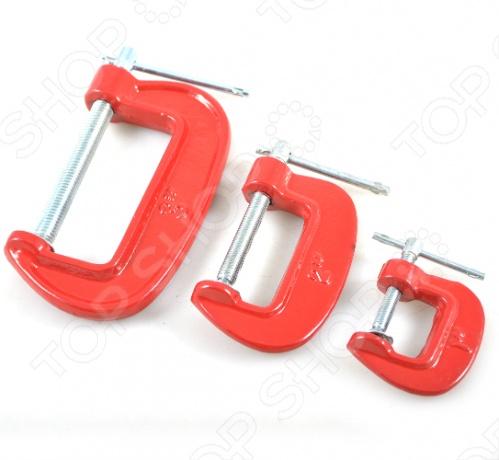 Набор струбцин FIT тип GЗажимной инструмент<br>Набор струбцин тип G состоит из трех предметов. Каждое изделие выполнено из высокопрочной инструментальной стали, что обеспечивает долгий срок службы, даже при максимальных нагрузках. В наборе три струбцины с шириной захвата: 25, 50, 75 мм. С помощью данных инструментов легко фиксировать различные детали, для проведения ремонтно-восстановительных работ.<br>