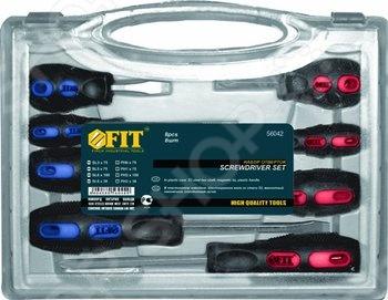 Набор отверток FIT 56042Наборы отверток<br>Набор отверток FIT поставляется в пластиковом чемодане, для удобного хранения инструментов. Данный набор состоит из крестовых и шлицевых отвёрток, с помощью которых можно создавать и демонтировать резьбовые соединения. Каждая отвёртка оснащена эргономичной резиновой рукояткой и стержнями из хромованадиевой стали с намагниченными наконечниками.<br>