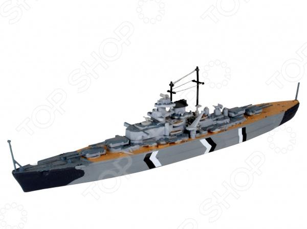 Сборная модель линкора Revell BismarckВодный транспорт<br>Сборная модель Bismarck представляет собой точную копию настоящего линкора. Состоит из 31 детали, которые юный механик должен собрать сам. Во время игры с таким судном у ребенка развивается мелкая моторика рук, фантазия и воображение. Немецкий линейный корабль времен Второй мировой войны выпущен известной компанией по производству игрушек Revell. Изготовлен из пластика и обладает потрясающей детализацией. Сборная модель Bismarck является отличным подарком не только ребенку, но и коллекционеру. В комплект входят клей, кисточка и краски.<br>
