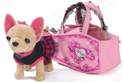 Собачка плюшевая Simba «Вампирчик»Мягкие игрушки<br>Собачка плюшевая SIMBA Вампирчик прекрасный подарок для девочек. С этой замечательной игрушкой ребенок сможет вжиться в образ гламурной дамы с собачкой. В комплекте элегантная сумочка, в которой можно носить плюшевого питомца или любые другие вещи, используемые в детских играх.<br>