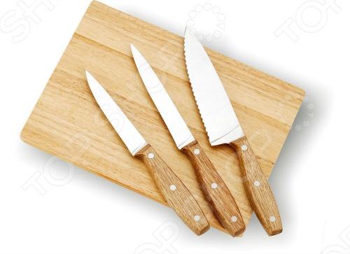 Набор ножей с разделочной доской Vitesse Classiс VS-8101Ножи<br>Набор ножей с разделочной доской Vitesse Classiс VS-8101 из 4-х предметов. В набор входят:  Нож поварской 6 , 2,0 мм  Нож универсальный 4.5 , 1,5 мм  Нож для чистки и резки 3.5 , 1,5 мм  Доска разделочная Высококачественная нержавеющая сталь 420J2. Острая режущая кромка. Легкая заточка. Удобная рукоятка. Эксклюзивный дизайн.<br>