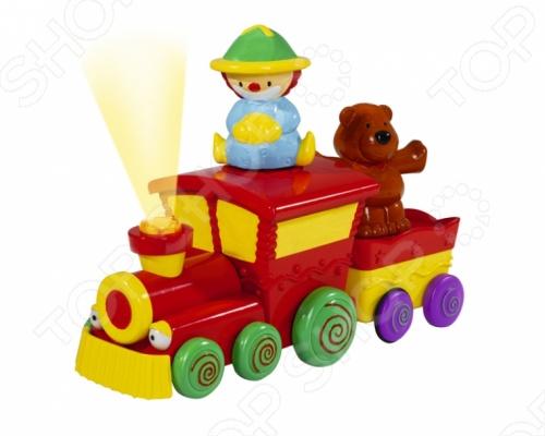 Паровозик Simba игрушечный придется по душе вашему малышу. Развивающая игрушка со световыми и звуковыми эффектами. Вместе с вашим малышом в путешествие отправляются веселый клоун и медвежонок. Медвежонка и клоуна можно менять местами. Клоун при движении будет подпрыгивать,а медвежонок крутиться в разные стороны. Паровозик умеет двигаться, а при столкновении с преградой, разворачивается и едет в другую сторону. Игрушка работает от двух батареек.