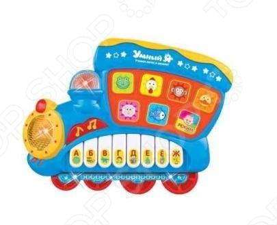 Игрушка развивающая со звуком и светом Zhorya Поезд поможет малышам узнать много нового и интересного. Устройство с профессиональным русским озвучиванием позволяет обучить малыша алфавиту, цифрам, цветам и многому другому. Игрушка имеет яркий привлекательный дизайн, который понравится детям. Работает на батарейках не входят в комплект поставки .