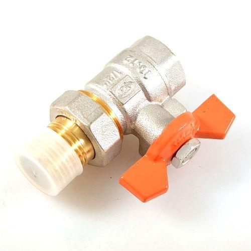 Вентиль шаровый латунированный с ручкой бабочкой и сгоном Terma R это отличный вентиль, который точно необходим при установке нового оборудования, или смене труб. Вентиль отличается ручкой в форме бабочки, полнопроходным типом и латунированным покрытием. Если у вас в системе бывают перепады с водой, то этот вентиль поможет избежать неожиданностей в вашей отсутствие. Стоит лишь закрутить его и можно не переживать, что в доме будет потоп.