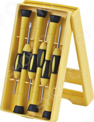 Набор отверток для точных работ FIT 56147 профессиональный набор из шести отверток, стержни которых изготовлены из хром-ванадиевой стали материал, гарантирующий высокую прочность и долговечность. Отвертки имеют магнитные наконечники и длинные пластиковые ручки. В комплект входит компактный пластиковый бокс для хранения отверток.
