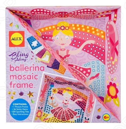 Набор для создания поделок ALEX «Мозаика в рамке - Балерина»Наборы для дизайна<br>Набор для создания поделок ALEX Мозаика в рамке - Балерина - набор для творчества станет прекрасным подарком для любителей создавать интересные вещи собственными руками. Создать картину-мозаику совсем несложно, ребенок с легкостью справится с этим делом и получит при этом массу удовольствия. Кроме того, это занятие очень полезно для развития моторики и внимания. В наборе: картинка-заготовка в рамке, 504 наклейки разных цветов и формы, 26 страз и простая иллюстрированная инструкция. Для детей от 3-х лет.<br>