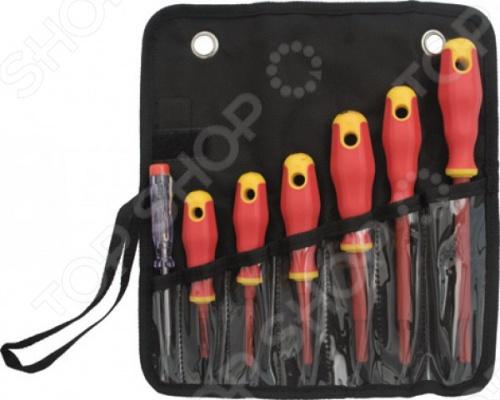Набор отверток изолированных FIT 56130 профессиональный набор из семи отверток с изоляцией. Стержни инструментов изготовлены из хром-ванадиевой стали, которая гарантирует высокую прочность и долговечность. Отвертки имеют магнитные наконечники, диэлектрическое покрытием и удобные прорезиненные ручки. В комплект входит нейлоновый чехол для хранения отверток. Отвертки: отвёртки 1000 В с изолированным жалом SL3x75; SL5.5x125; SL6.5x150; PH0 3x60; PH1 4.5x80; PH2 6.5x100 , отвёртка индикаторная 100-250 V SL3 .