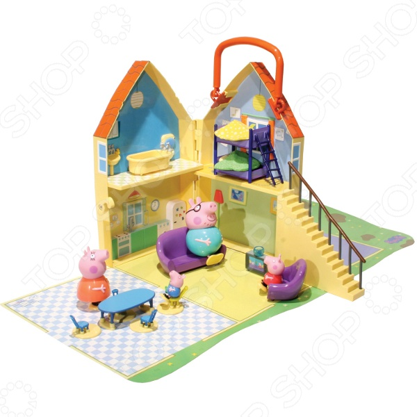 Набор игровой Peppa Pig «Дом Пеппы»Набор игровой Peppa Pig Дом Пеппы одна из популярных игрушек с персонажами детского мультфильма Свинка Пеппа . С этим удивительным набором вы с вашим ребенком сможете создавать совершенно новые и занимательные истории про любимую свинку. Игровой набор включает в себя:  милый дом, где проживает главный персонаж;  мебель и аксессуары кресло, диван, обеденный стол и 4 стула, телевизор, ванна, двухъярусная кровать ;  фигурку свинки Пеппы. Домик - интерактивный, в нем открываются все двери, есть даже лестница, по которой Пеппа может подняться к себе в спальню. Яркий и красочный домик сделан в виде удобного чемоданчика, который закрывается на ключик. Если домик раскрыть, то можно увидеть четыре комнаты: большую и просторную гостиную, кухню, спальню и ванную. Веселая Пеппа может стоять, сидеть в кресле или на диване, обедать за столом, принимать ванну и спать в своей миниатюрной постели. Игровой набор Peppa Pig Дом Пеппы отличается своей прекрасной детализацией. Множество деталей люстры, картины, шторы и прочее отлично прорисованы. Набор изготовлен из высококачественного пластика, который не содержат вредных или токсичных веществ. Прочный материал гарантирует долговечность и надежность всех деталей. Яркие и красочные материалы надолго сохранят свои цвета. Благодаря своей удобной складной конструкции игровой набор можно брать с собой на улицу или в гости. Во время игры с этим набором ребенок не только получит массу положительным эмоции, но и расширит свой словарный запас, кругозор, отработает навыки общения, выработает семейные и общечеловеческие ценности, разовьет мелкую моторику рук, воображение и фантазию. Набор игровой Peppa Pig Дом Пеппы станет замечательным подарком, который обязательно понравится и вашему ребенку, и вам.<br>