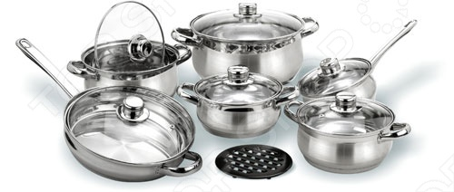 Набор кухонной посуды Vitesse Magnolia состоит из 13 предметов: 4 кастрюль, 1 сотейника, сковородки, 6 крышек из термостойкого стекла к ним и бакелитовой подставки. Удобные ручки для переноски сделаны из нержавеющей стали и присоединены точечной сваркой. Многослойное дно имеет термоаккумулирующий эффект. Нагрев можно осуществлять на газовых, чугунных, стеклокерамических и галогеновых конфорках.