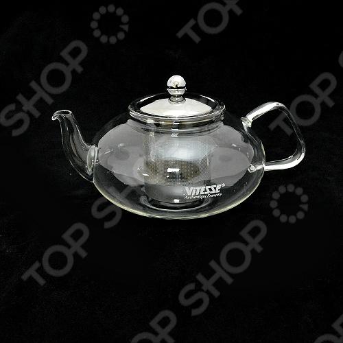 Заварочный чайник Vitesse из термостойкого стекла прекрасно подходит для чаепития в большой компании. Имеет крышку и ситечко из нержавеющей стали, которые отполированы до зеркального блеска.