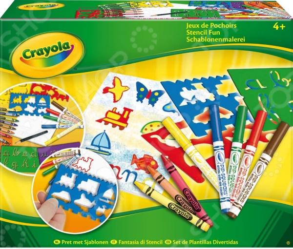 Набор трафаретов Crayola «Jeux de Pochoirs»Машинки. Трафареты для рисования. Штампы<br>Набор трафаретов Crayola Jeux de Pochoirs это отличный набор трафаретов с карандашами, который позволит вашему ребенку создать множество замечательных произведений искусства. Даже самые маленькие дети, которые еще не умеют держать карандаш смогут рисовать с этим набором. Внутри вы найдете 3 трафарета с животными, 3 трафарета с латинскими буквами, 5 фломастеров, 8 восковых мелков, пачку белой бумаги и игровой коврик. Ребенку необходимо лишь обвести трафарет, а после раскрасить получившийся рисунок.<br>