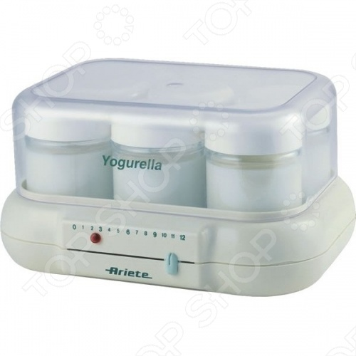 Йогуртница Ariete 85/1Йогуртницы<br>Йогуртница Ariete 85 1 с удобными баночками по 175 мл. При помощи Ariete 85 1 можно сделать домашний йогурт очень легко. Молоко разводится со специальной закваской и разливается по баночкам 6 баночек рассчитано на 1 литр молока . Прибор включается на 12 часов. В это время внутри него создается микроклимат, способствующий размножению кисломолочных бактерий. На приборе есть шкала от 1 до 12, где можно выставить время когда вы поставили йогурт готовится, чтоб спустя 12 часов не забыть его выключить. Когда время прошло теплый йогурт нужно поставить в холодильник и через 2 часа он будет окончательно готов. С такой йогуртницей вы сможете делать для себя, семьи и ребенка действительно полезный продукт!<br>