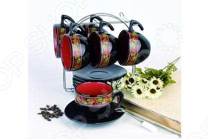 Чайный набор на подставке Фарфоровый путь «Клубника» набор эм 5 предметов 24 клубника садов 984176