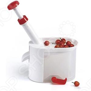 Отделитель косточек Y522 предназначен для удаления косточек из свежих, консервированных или замороженных вишен, черешен, маслин. С помощью этого отделителя косточек Вы без особых усилий сможете подготовить ягоды для компота, варенья или начинки для пирога. Просто засыпаете ягоды в специальную емкость сверху отделителя, легкое нажатие на рычаг - и косточка извлекается! Устройство не повреждает мякоть ягоды, быстро и просто собирается, легко моется. Отделитель пригоден для мытья в посудомоечной машине. Изготовлен из пищевого пластика, стержень из нержавеющей стали. Вакуумная присоска надежно закрепит прибор на поверхности стола.