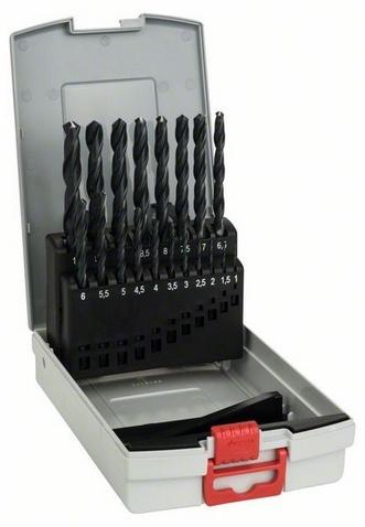 Набор сверл по металлу Bosch 2608587012Наборы сверл<br>Набор сверл по металлу Bosch 2608587012, от ведущего мирового поставщика потребительских товаров, промышленных и строительных технологий Bosch, представляет собой комплект из девятнадцати сменных насадок различного диаметра для сверления отверстий в металле. Изделия изготовлены из высококачественных износостойких материалов и упакованы в удобный пластиковый кейс с ручкой для переноски. Рабочая длина сверл варьируется от 12 до 87 мм.<br>