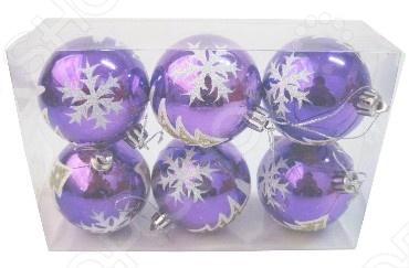 Шары новогодние «Снежинки» глянец