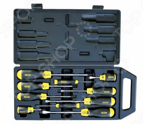 Набор отверток STANLEY CushionGrip в футляреНаборы отверток<br>Набор отверток STANLEY CushionGrip в футляре предназначается для выполнения ремонтных или сборочных работ различных конструкций. В комплект входят отвертки с различными шлицами и размерами, что позволяет легко подобрать нужный инструмент для того или иного крепежа. Все элементы оснащены удобными рукоятками и особопрочными рабочими стержнями, которые надежно соединены между собой. Набор прослужит долгий срок, так как стержни надежно защищены от появления коррозии.<br>