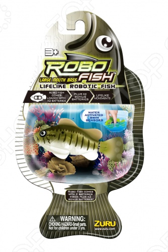 Роборыбка Zuru RoboFish «Большеротый окунь»Игрушки для ванны<br>Большеротый окунь станет замечательным подарком. Данная модель относится к инновационным высокотехнологичным игрушкам. Активируется игрушка в воде, имитирует движения и повадки рыбы. Технологичная резиновая игрушка работает в продолжение двух часов с помощью электромагнитного мотора только в воде, при этом умеет опускаться на дно и подниматься. Если хотите, чтобы робот погрузился не до конца, отрегулируйте грузик внутри. В комплекте две батарейки RL44 и подставка для хранения.<br>