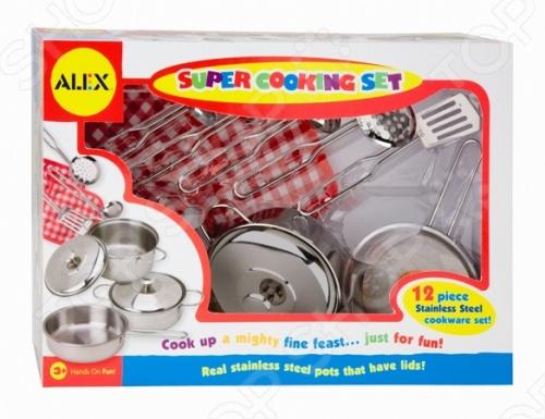 Набор посуды игровой ALEX «Супер кулинар»Сюжетно-ролевые наборы<br>Набор посуды игровой ALEX Супер кулинар изготовлен из нержавеющей стали - станет превосходным подарком, для маленькой хозяйки. С помощью этой посуды можно приготовить обед для любимых кукол, так же, как это делает мама.<br>