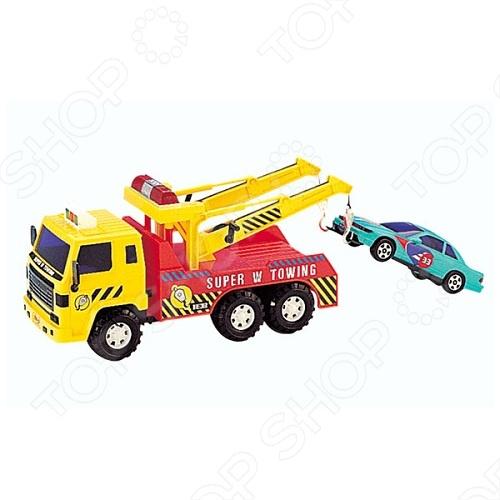 Машинка игрушечная Daesung эвакуаторМашинки<br>Машинка игрушечная Daesung эвакуатор - яркая, реалистичная, качественно смоделированная копия грузовика специального назначения, с инерционным механизмом. Отличная модель для игры как дома, так и на улице с друзьями. Подарите вашему малышу интересную и оригинальную игрушку, которая в свою очередь обеспечит массу удовольствия и веселья.<br>