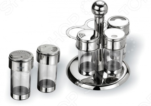 Набор для приправ Vitesse Margo состоит из четырех емкостей для специй. Емкости изготовлены из стекла с плотно закрывающимися крышками. Емкости компактно умещаются на круглой крутящейся металлическом подставке и надежно удерживаются на ней.
