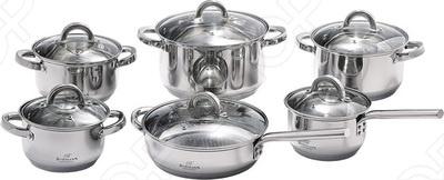 Набор кухонной посуды Bohmann BH-1256Наборы посуды для готовки<br>Набор кухонной посуды Bohmann BH-1256 это объемные кастрюли с высококачественным покрытием, прекрасно подходит для жарки, пассировки и тушения. Благодаря специальному покрытию, в них можно приготовить разнообразные блюда из мяса, рыбы, птицы и овощей практически не используя масло. Интересный дизайн посуды отлично впишется в вашу кухню. В наборе вы найдете 12 предметов, которые оснащены пятислойным капсульным дном.<br>