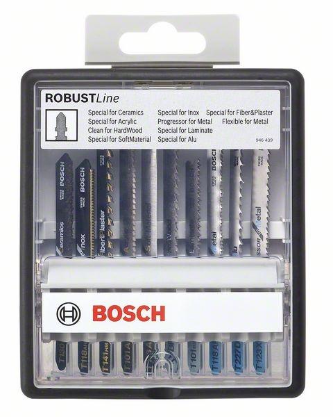 Набор пильных полотен Bosch Robust Line Top Expert с T-образным хвостовикомНожовочные полотна<br>Набор пильных полотен Bosch Robust Line Top Expert с T-образным хвостовиком представляет собой надёжный и прочный инструмент, который позволит вам проделать необходимые работы. Благодаря продуманной форме и высокопрочным материалам изготовления, пропил получаются необходимого размера, что очень важно при работе с дорогостоящими материалами. Высокое качество выполнения работ, а так же долговечность эксплуатации, несомненно, придётся по душе любому мастеру и превратит работу, в удовольствие.<br>
