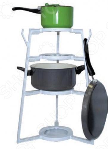 Стойка для посуды Smile PT 109 экономит до 300 места в шкафу без загромождений . Хранение до 14 предметов посуды, включая 4 крышки. 3 крючка для хранения сковородок по 2 сковородки на каждый крючок . Мгновенная сборка без применения инструментов и стойка готова к использованию. Крышки свободно хранятся на кастрюлях благодаря стойке для посуды Smile PT 109. Подходит в стандартный шкаф высотой 60 см, шириной 37,5 см, глубиной 60 см. Составные части: опорный стержень 3 шт. , кольцо-полка 4 шт. . Размеры прибора: высота: 47,5 см, диаметр 32,5 см.