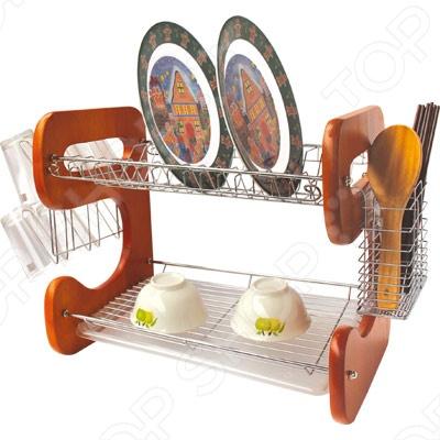 Сушилка для посуды Bohmann BH-7314Сушилки для посуды<br>Сушилка для посуды Bohmann BH-7314 изготовлена из высококачественной хромированной стали и устойчива к появлению ржавчины. Прекрасно подходит не только для тарелок различных размеров, но даже разделочных досок. Модель оборудована удобным отсеком для столовых приборов и насадками для стаканов. Пластмассовый поддон-поднос легко снимается, поэтому удалить избыток воды не составит труда. Деревянные ножки сушилки не будут царапать стол. Благодаря модному дизайну, надежной конструкции и функциональности Bohmann BH-7314 займет достойное место на вашей кухне.<br>