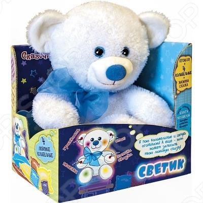 Мягкая игрушка МАЛЫШИ Мишка СветикМягкие игрушки<br>Мягкая игрушка МАЛЫШИ Мишка Светик - прекрасный подарок для вашего малыша. Модель отличается оригинальным дизайном и качественным исполнением. Игрушка станет верным другом для каждого ребёнка, подарит множество приятных мгновений и непременно поднимет настроение. Игрушка оснащена звуковым сопровождением, общая длительность звучания песен составляет 10,68 минут функция мамина сказка . Эта милая и забавная игрушка обязательно понравится вашему ребёнку.<br>