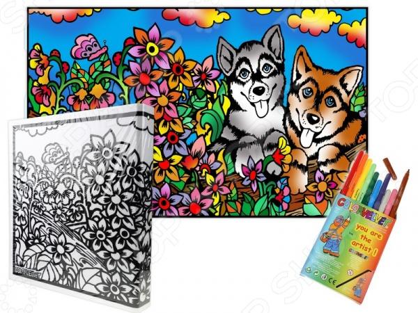 Папка-раскраска Color Velvet «Собаки»Наборы для раскрашивания<br>Папка-раскраска Color Velvet Собаки это набор, содержащий все необходимое для создания красивой папки на кольцах, в которой вы сможете хранить свои бумаги. Уникальной особенностью набора являются мягкие контуры заготовки: вельветовые границы не дадут не дадут фломастерам растечься, а цветам перемешаться. Набор будет одинаково интересен и взрослым, и детям. Чтобы создать свой дизайн папки, просто возьмите фломастеры идут в комплекте , и раскрасьте белый фон по своему вкусу! В состав каждого набора входит заготовка с мягкими контурами, 10 маркеров на водной основе и вариант раскрашивания от дизайнеров Color Velvet. Все вместе упаковано в полипропиленовый пакет. Продукция произведена в Италии и соответствует европейским стандартам качества и безопасности.<br>