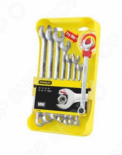Набор из 8-ми комбинированных гаечных ключей Stanley Ratcheting Wrench 4-95-660 набор торцевых головок stanley и комбинированных ключей 40 предметов 1 99 056