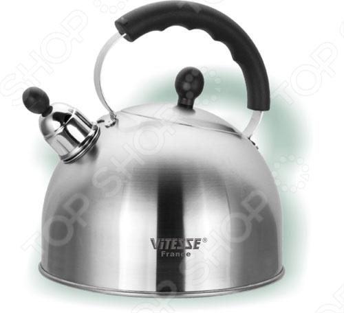 Чайник Vitesse Christina быстро нагревается за счет многослойного тepмoaккyмyлиpyющeго дна. Выполнен в зеркальной полировке и имеет съемный свисток. Изготовлен из нержавеющей стали. Подойдет для стеклокерамических, газовых, галогеновых, индукционных и чугунных конфорок.