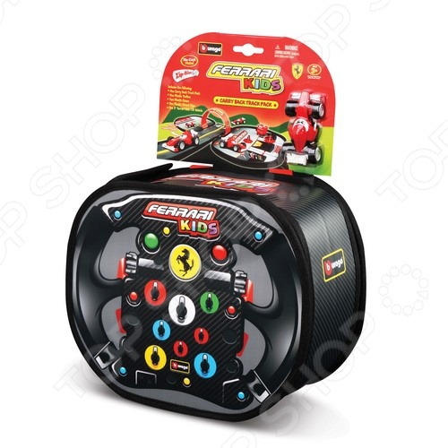 Игровое поле-рюкзачок Bburago «Ferrari Kids»Игровые наборы для мальчиков<br>Игровое поле-рюкзачок Bburago Ferrari Kids это отличный подарок для маленького автомобилиста. В комплекте есть все необходимое для увлекательной игры: гоночная трасса, пункты технического осмотра автомобиля, парковка, а также гоночный автомобиль Ferrari с изображением мультипликационных лиц. Набор упакован в стильный компактный рюкзак, который выполнен в виде руля гоночного болида. Комплект изготовлен из высококачественных материалов, которые полностью безопасны для вашего ребенка.<br>