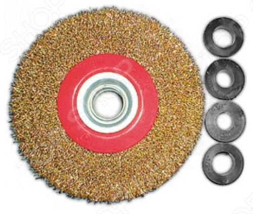Корщетка-колесо FIT используется для заточных станков. В комплекте резиновые адаптеры на разные посадочные диаметры по 2 штуки каждого типа адаптеров . Материал: стальная латунированная волнистая проволока.