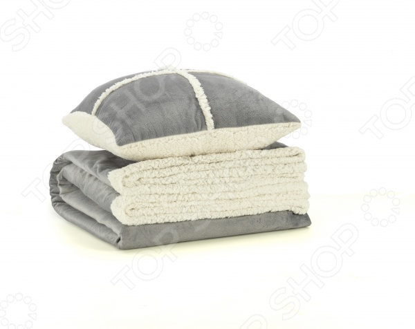 Фото Набор Dormeo Warm Hug: декоративная подушка и плед. Цвет: серый