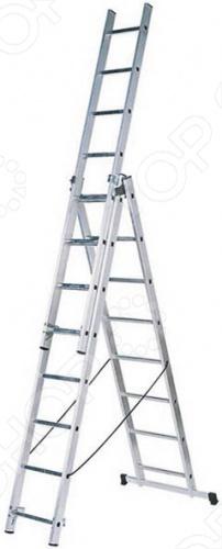 Лестница двухсекционная алюминиевая универсальная лестница для профессионального и полупрофессионального применения. Конструкция придаёт лестнице универсальность - её можно использовать как приставную или раздвижную, а также как свободностоящую стремянка . Со всех сторон профилированные перекладины обеспечивают надёжный подъем и опускание, а широкая поперечная траверса с опорными наконечниками из двух компонентов обеспечивает высокую степень безопасности. Удобство для транспортировки лестницы обеспечивается благодаря надёжной фиксации само захватывающими фиксирующими крюками.