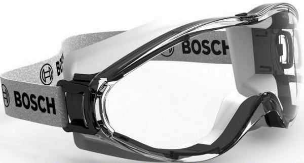 Очки защитные полнообзорные Bosch GO FV2Безопасность работ<br>Очки защитные полнообзорные Bosch GO FV2 представляют собой необходимый аксессуар при выполнении монтажных и строительных работ. Модель предназначена для защиты глаз от ультрафиолетовых лучей, попадания пыли, стружки и других вредных веществ. Очки изготовлены из прозрачного поликарбоната, оснащены наголовной синтетической лентой и эргономичной оправой, обеспечивающей хорошую боковую защиту и широкий обзор. Модель изготовлена в соответствии с европейскими стандартами в области средств индивидуальной защиты глаз EN 166.<br>
