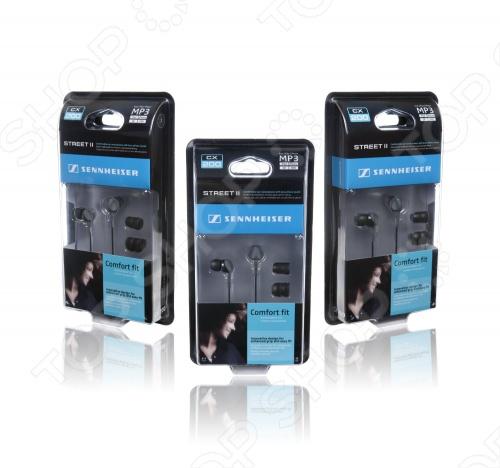 Наушники вставные Sennheiser CX 200 Street II для прослушивания музыки. Совместимы с устройствами, имеющими разъем mini jack 3.5 мм. Кабель имеет длину 1.2 метра, на конце позолоченный L-образный штекер. В комплекте 3 пары сменных амбушюр. Отличная шумоизоляция, хороши для улицы.
