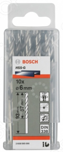 Набор сверл по металлу Bosch Standard HSS-G, DIN 338, 10 шт