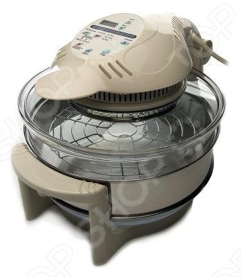 Аэрогриль Ves AX 730 с электронным управлением и оригинальным современным дизайном прекрасно справится с такими функциями как: жарка, гриль, барбекью, тушение, запекание без масла, выпечка, готовка без воды, приготовление на пару. В данной модели применен галогеновый нагревательный элемент, за счет этого пища готовится быстрей и не нагорает на нагревательный элемент. Колба для приготовления изготовлена из жаростойкого, закаленного, ударостойкого стекла французской фирмы Akropil. Крышка крепится к корпусу новым кронштейном, обеспечивающим плотное прилегание и герметичность. Прозрачный корпус из термостекла легко моется, устройство имеет встроенную функцию очистки. Внутри имеются два уровня с решетками, так что можно готовить мясо одновременно с гарниром. После окончания работы достаточно лишь налить в колбу около 4-5 литров горячей воды и добавить моющее средство, после чего нажать на кнопку, именно так и работает автоматическая чистка.