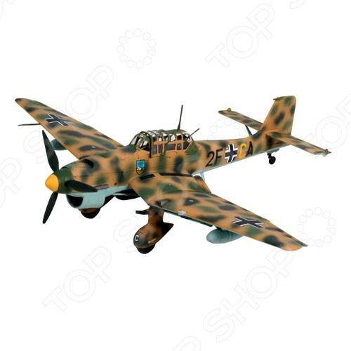 Сборная модель самолета Revell Junkers Ju 87 B-2 / R-2 StukaАвиамодели<br>Сборная модель Junkers Ju 87 B-2 R-2 Stuka представляет собой точную копию настоящего военного самолета. Состоит из 74 деталей, которые юный механик должен собрать сам. Во время игры с такой крылатой машиной у ребенка развивается мелкая моторика рук, фантазия и воображение. Немецкий пикирующий бомбардировщик выпущен известной компанией по производству игрушек Revell. Изготовлен из пластика и обладает потрясающей детализацией. Сборная модель Junkers Ju 87 B-2 R-2 Stuka является отличным подарком не только ребенку, но и коллекционеру. Клей, кисточка и краски в комплект не входят.<br>