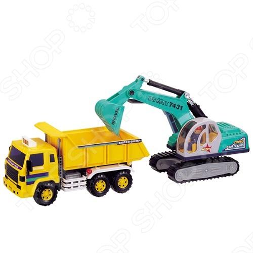 Машинка игрушечная Daesung самосвал с экскаватором - реалистичная, качественно смоделированная копия грузовика. Отличная модель для игры как дома, так и на улице с друзьями. Подарите вашему малышу интересную и оригинальную игрушку, которая в свою очередь обеспечит массу удовольствия и веселья.