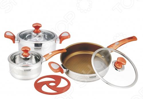 Набор кухонной посуды Vitesse VS-2024Наборы посуды для готовки<br>Выполненный в эксклюзивном дизайне с матовой и зеркальной полировкой, набор кухонной посуды Vitesse VS-2024 великолепно подойдет для приготовления разнообразных блюд. Все предметы для готовки имеют бекелитовые ручки на клепках, многослойное термоаккумулирующее дно, крышки из термостойкого стекла. Сковорода с антипригарным покрытием. Нагрев на газовых, галогеновых, индукционных, чугунных и стеклокерамических конфорок. Можно мыть в посудомоечной машине.<br>