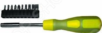 Отвертка FIT IT Профи обладает прочным стальным стержнем с магнитным наконечником для надежной фиксации бит. В комплект входит десять бит: SL3; SL4; SL5; SL6; SL8; РН0; РН1; РН2; Т10; Т20 в резиновом картридже.