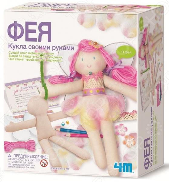 Набор для создания кукол 4M «Фея»Изготовление кукол<br>Набор для создания кукол 4M Фея включает в себя все необходимое для создания оригинальной куклы своими руками. При этом для создания куклы даже не понадобятся иголки, все можно сделать с помощью клея, который тоже входит в набор. Работа с данным набором развивает фантазию и художественные способности. После создания куклы ей можно придумать имя и даже самостоятельно заполнить для нее свидетельство о рождении.<br>